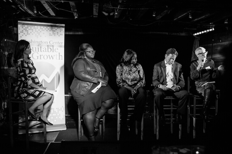 Sarah Jane Glynn, author of the new report, breaks down the multiple drivers of gender pay inequality. Speakers (left to right): Ylan Mui, Joi Chaney, Anna Branch, Chris Lu, and Sarah Jane Glynn.
